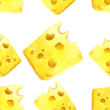 grated cheese: watercolor cheese seamless over white background Illustration