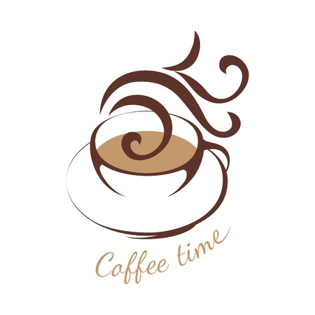 brown design: coffee logo template with stylized cup