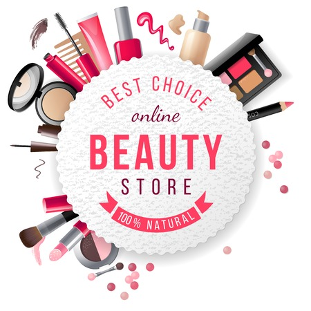 makeup fashion: beauty store emblem with type design and cosmetics