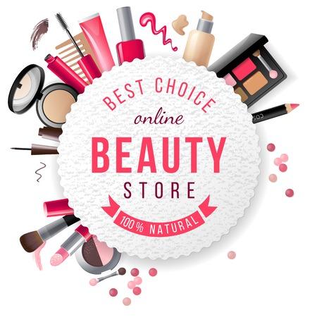 fragrance: schoonheid winkel embleem met type design en cosmetica Stock Illustratie