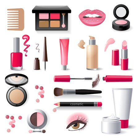 highly detailed cosmetics icons set