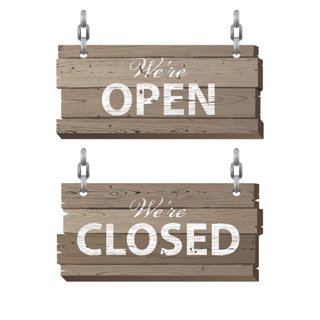 closed sign: Open and closed retro-styled wooden signs Illustration