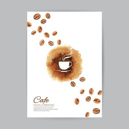 커피 책자 표지 수채화 템플릿 일러스트
