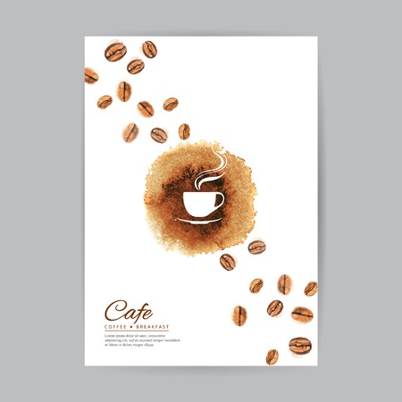 Coffee brochure cover watercolor template