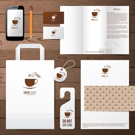 coffee house identity template over wooden background