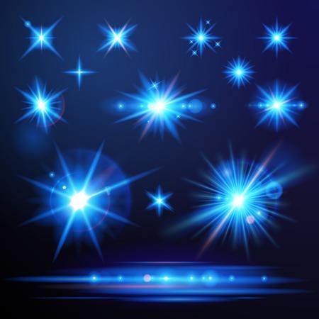 radiate: Blue flare lights set for your designs