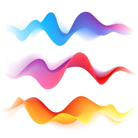 Set of bright blend abstract waves