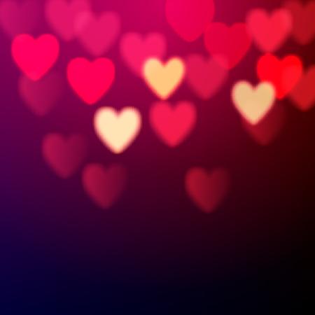 parejas romanticas: Corazones brillantes del bokeh de fondo del d�a de San Valent�n Vectores
