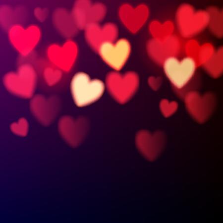 dia: Corazones brillantes del bokeh de fondo del día de San Valentín Vectores