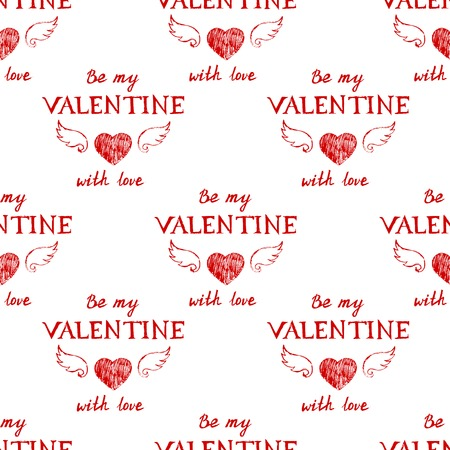 14 february: Valentines day typography seamless pattern
