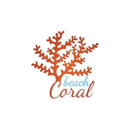 Coral beach logo template over white background Reklamní fotografie - 35136836