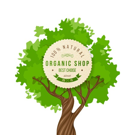 Organic shop emblem over green tree background Vector