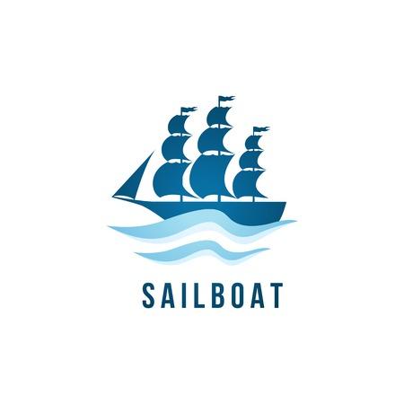 barco pirata: Plantilla de logotipo velero sobre fondo blanco