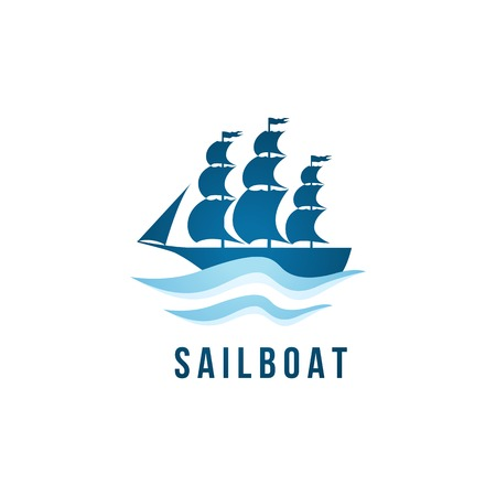 navy ship: Sailboat logo template over white background