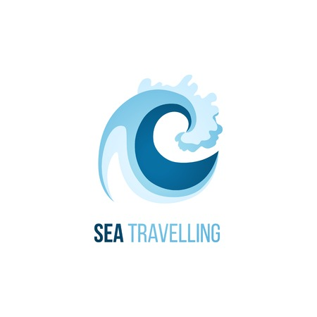 Sea trevelling logo template with wave on white background