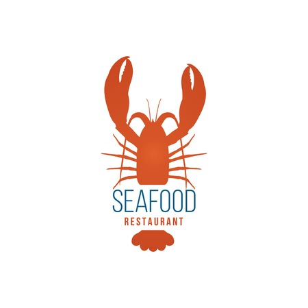 Seafood restaurant logo template with lobster on white background Illustration