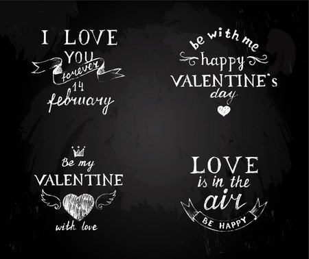 be happy: Chalk board  with hand drawn Valentines type designs