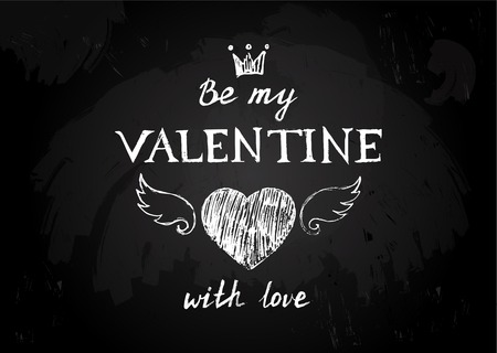 14 february: Chalk board  with hand drawn Valentines type design