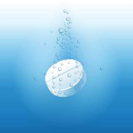 dissolving: effervescent tablet under the water Illustration
