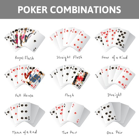flush: 9 poker cards combinations on white background
