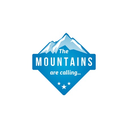 ice climbing: Mountain label with type design