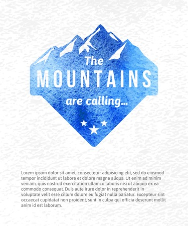 Watercolor mountain label with type design Illustration