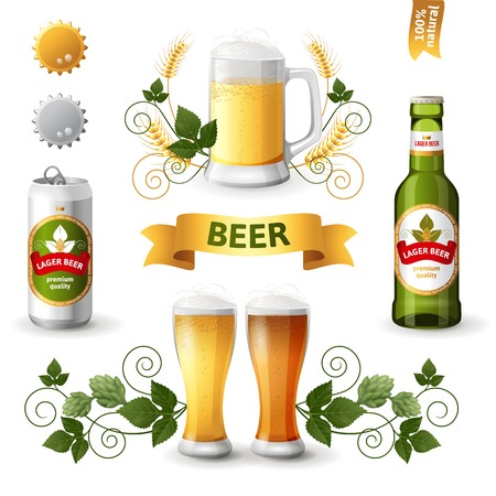 green beer: Set of bright beer emblems
