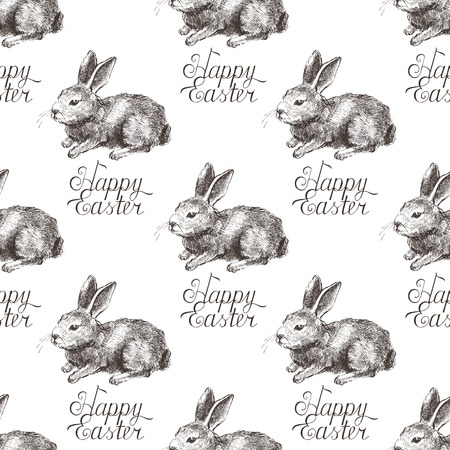 Easter seamless background with hand drawn bunny Vector