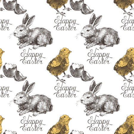 Easter seamless background with hand drawn bunny and chicken Vector