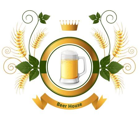 Bright beer emblem over white background Vector