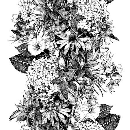 Hand drawn seamless floral  border in vintage style