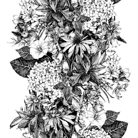 Dibujado a mano sin problemas la frontera floral en estilo vintage