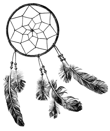 hand drawn indian dream catcher Çizim