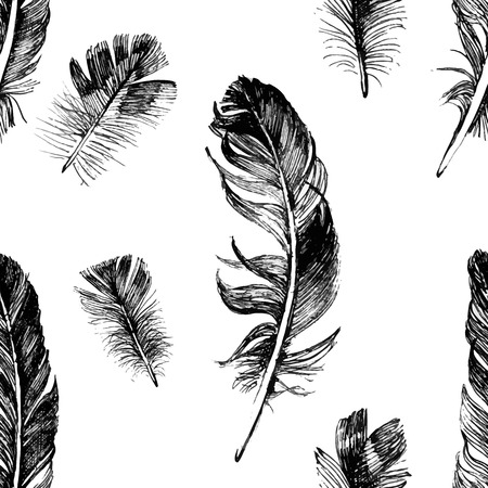 allegory painting: seamless pattern with hand drawn feathers on white background