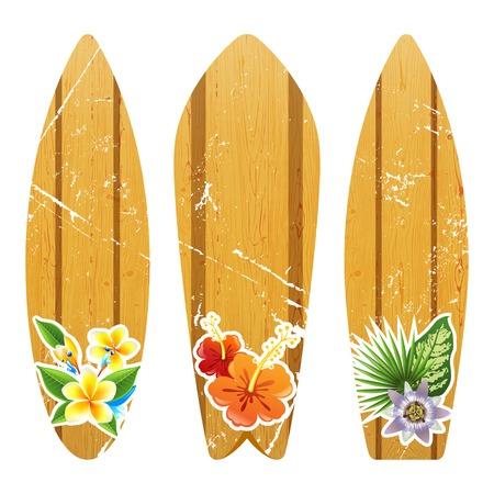 꽃 무늬 프린트가있는 나무 서핑 보드 3 개