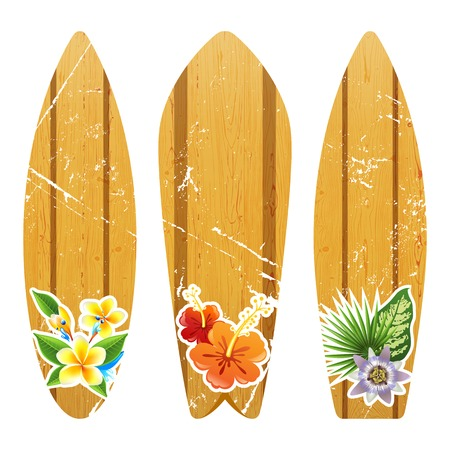 surfboards: 3 wooden surfboards with floral prints Illustration