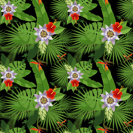 philodendron: Tropical seamless pattern on black background