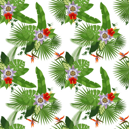 Tropical seamless pattern on white background Vector