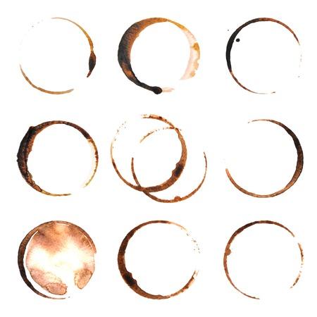 9 커피 얼룩 흰색 배경 위에 추적 일러스트