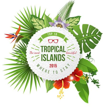 tropicale: emblème de la publicité avec la conception de type et de fleurs tropicales et plantes
