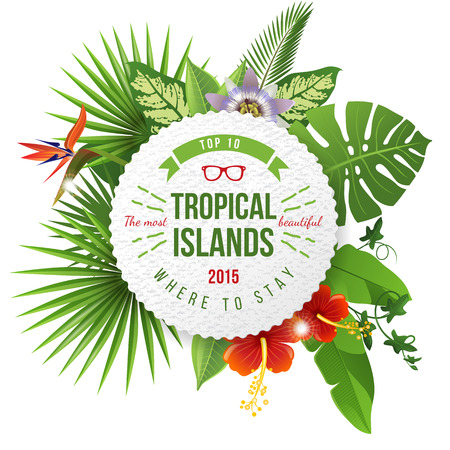 clima tropical: Publicidad emblema con diseño de tipo y las flores tropicales y plantas