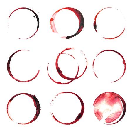 9 와인 얼룩 흰색 배경 위에 추적