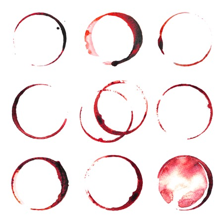 9 wine stains traces over white background Illustration