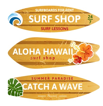 surf shop: 3 wooden surfboards with prints and different type designs