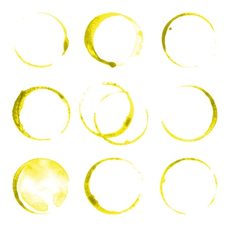 olive oil: 9 oil stains traces over white background Illustration