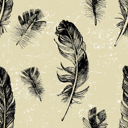 allegory painting: seamless pattern with hand drawn feathers in vintage style Illustration