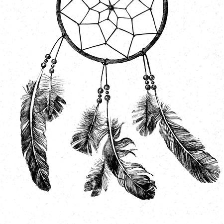 dream: hand drawn indian dream catcher Illustration