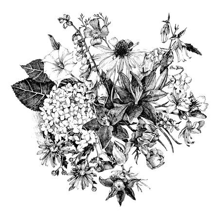 dessin noir et blanc: Hand drawn carte florale dans le style vintage
