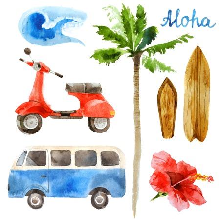 hibisco: Dibujado a mano surf acuarela establecido en estilo retro Vectores