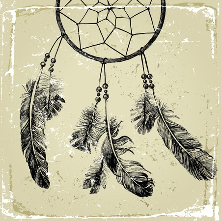 dream: hand drawn indian dream catcher in vintage style